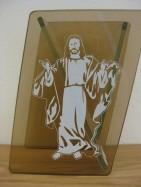 Vaas Jeesuse pildiga - klaas, kõrgus 12 cm